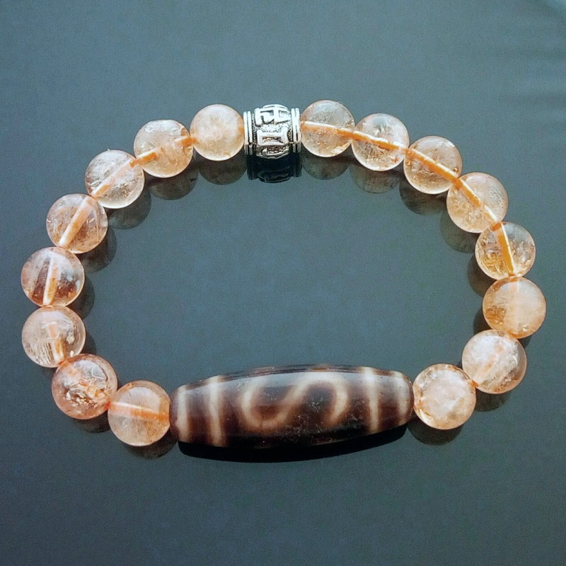 Authentic OLD Agate Money Hook dZi with Citrine Bracelet for Wealth Luck