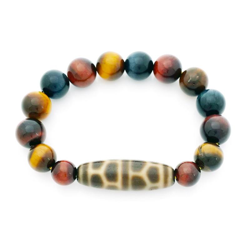 Authentic Old Agate Turtle Shell Dzi Bead Bracelet