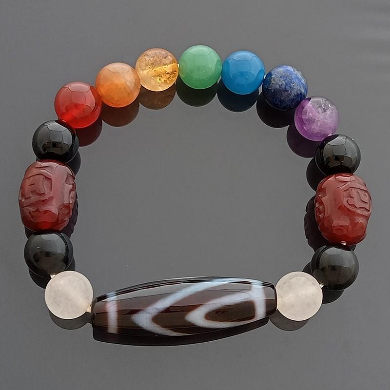 One-Eyed Dzi Bead Bracelet for Happiness and Wisdom