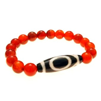 1 Eyed Dzi Bead with Natural Red Agate Bracelet