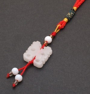 White Jade Double Happiness Tassel For Loving Marriage