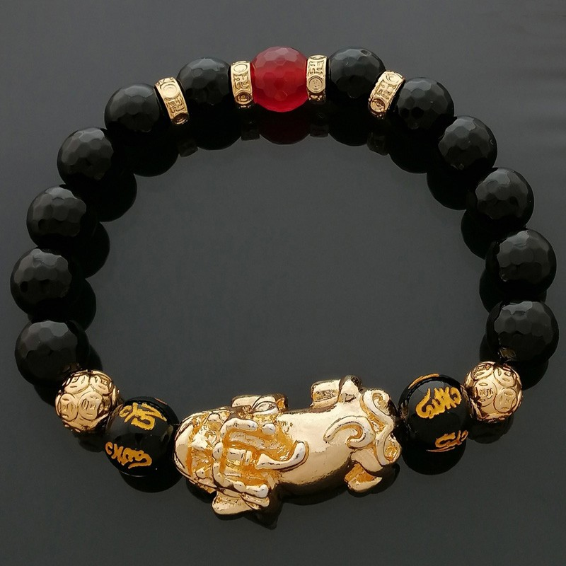 Feng Shui Golden Pi Yao Lucky Charm Bracelet for Good Luck