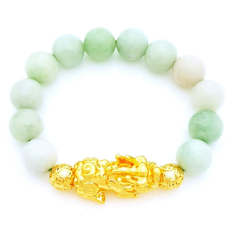 Feng Shui Golden Pi Yao Amulet with Natural Jade Bracelet