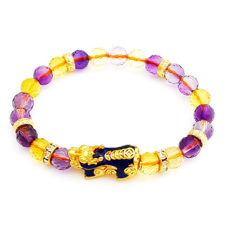 Feng Shui Ametrine Crystal with Golden Pi Yao Lucky Amulet Bracelet