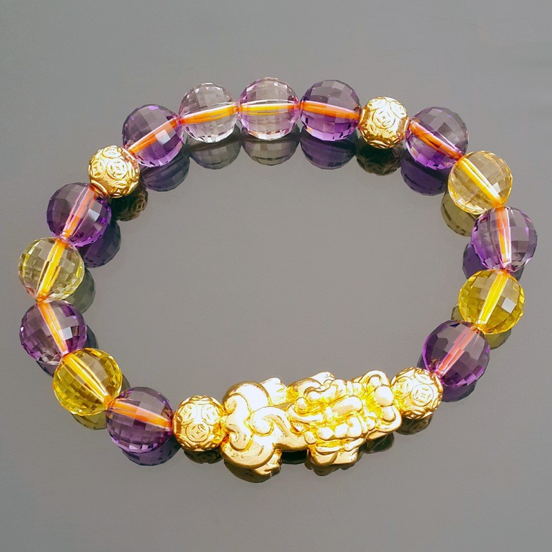 Feng Shui Golden Pi Yao Pi Xiu Lucky Amulet with Ametrine Crystals Bracelet
