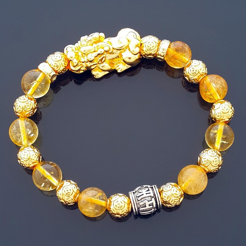 Feng Shui Golden Pi Yao Pi Xiu Lucky Amulet with Natural Citrine Bracelet