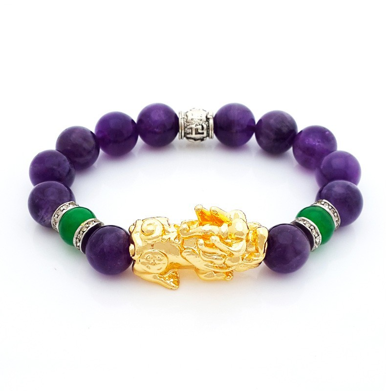 Feng Shui Pi Yao Lucky Amulet with Natural Amethyst Bracelet