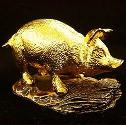 24K Gold Plated Pig Figurine