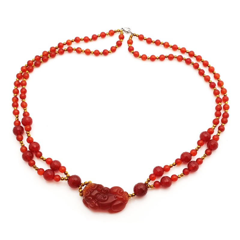 Natural RED Agate Pi Yao Pendant Necklace for Protection and Good Fortune