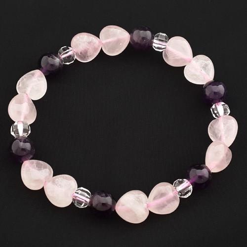 Rose Quartz Amethyst Crystal Bracelet for New Love