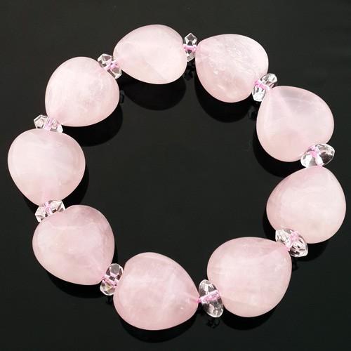 Heart Shape Rose Quartz Bracelet for Love and Romance Luck