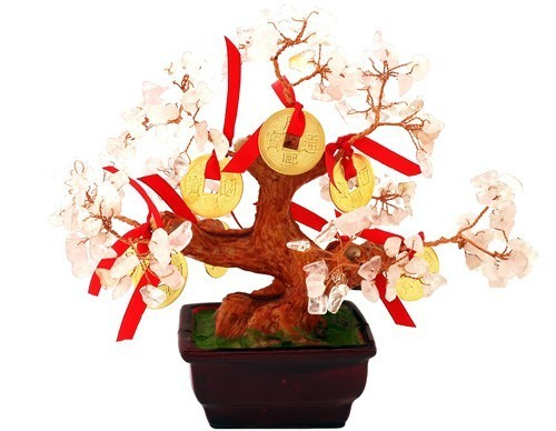 Rose Quartz Tree with 8 Gold Coins for Love ( Special Offer )