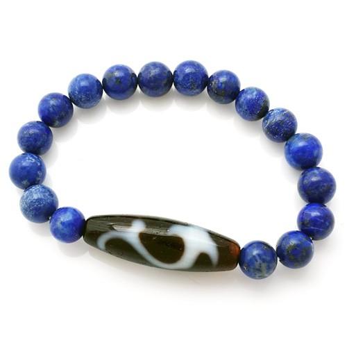 The Ru Yi Dzi Bead with Natural Lapis Lazuli Bracelet