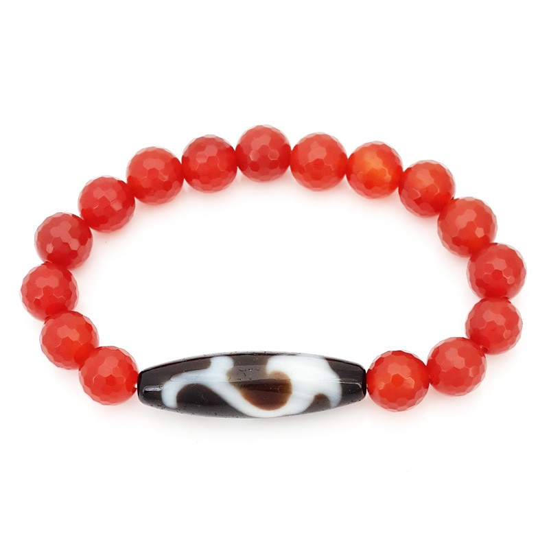 The Ru Yi Dzi Bead with Natural Red Agate Bracelet