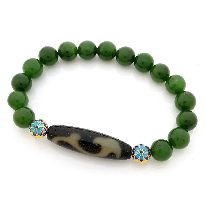 Authentic OLD Agate Dzi Bead Ru Yi with Hetian Jade Feng Shui Bracelet