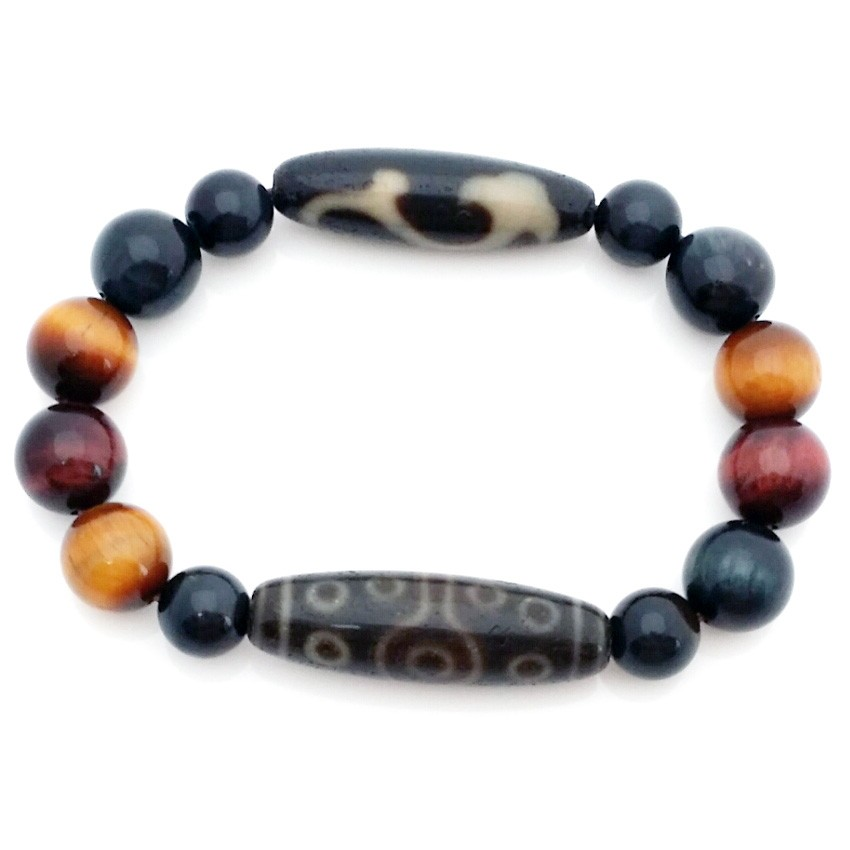 Authentic OLD Agate Tibetan dZi Beads Ru Yi and fifteen Eyed Bracelet for Career Advancement and Promotion