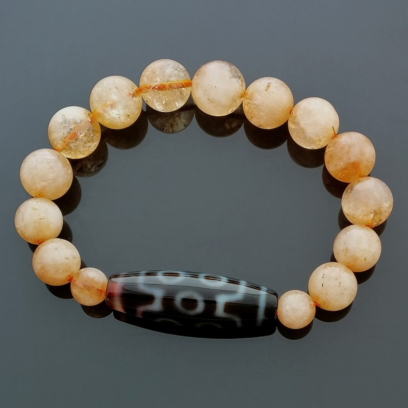 Authentic Tibetan Agate Dzi Bead 7 Eyed with Citrine Bracelet