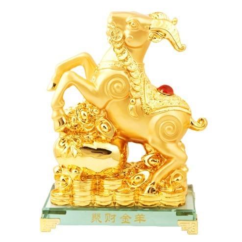 Golden Wealth Goat Carrying Auspicious Lucky Coins