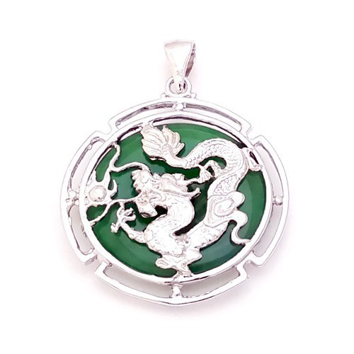 Jade with Silver Dragon Pendant