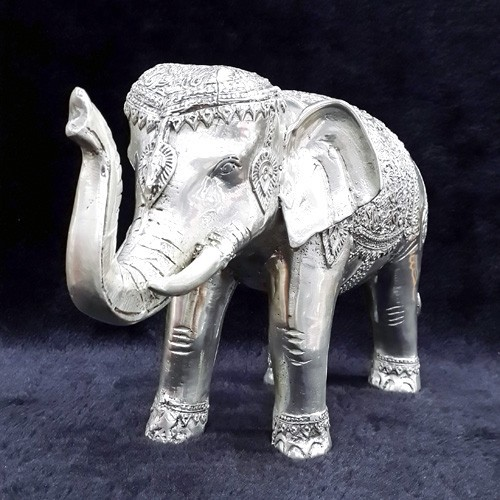 Feng Shui Sculpture Elephant SILVER Statue with Rising Trunk