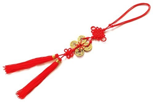 Feng Shui Six Chinese Coins Tassel with Mystic Knot