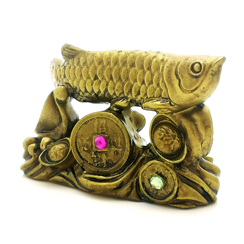 Arowana on a Bed of Coins and Ingots - Bronze
