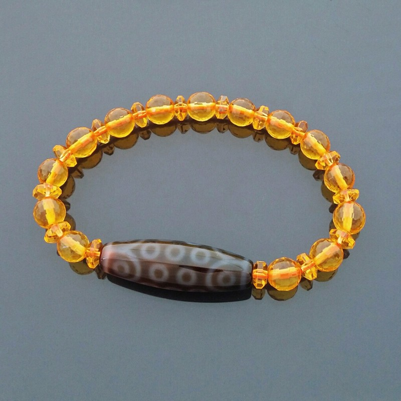 21 Eyes Dzi Bead with 8mm Faceted Citrine Bracelet