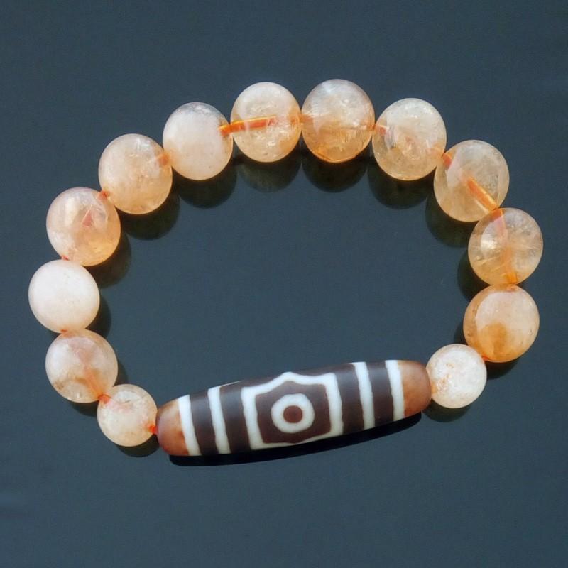 Old Agate 3-Eyed Dzi Bead with Citrine Bracelet