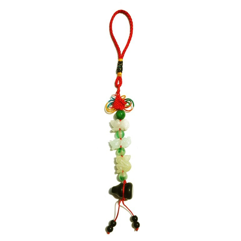 Feng Shui Three Horoscope Allies Jade Lucky Tassel with Obsidian Wu Lou for RAT, DRAGON and MONKEY