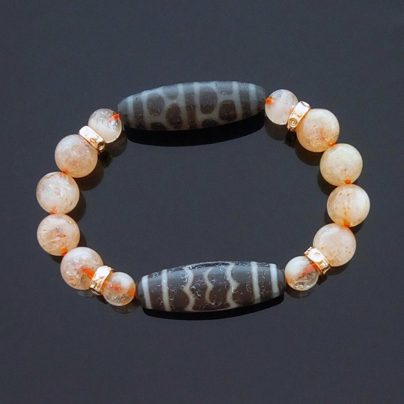 Feng Shui OLD Agate Garuda with Turtle Back dZi Beads Bracelet for Health and Longevity