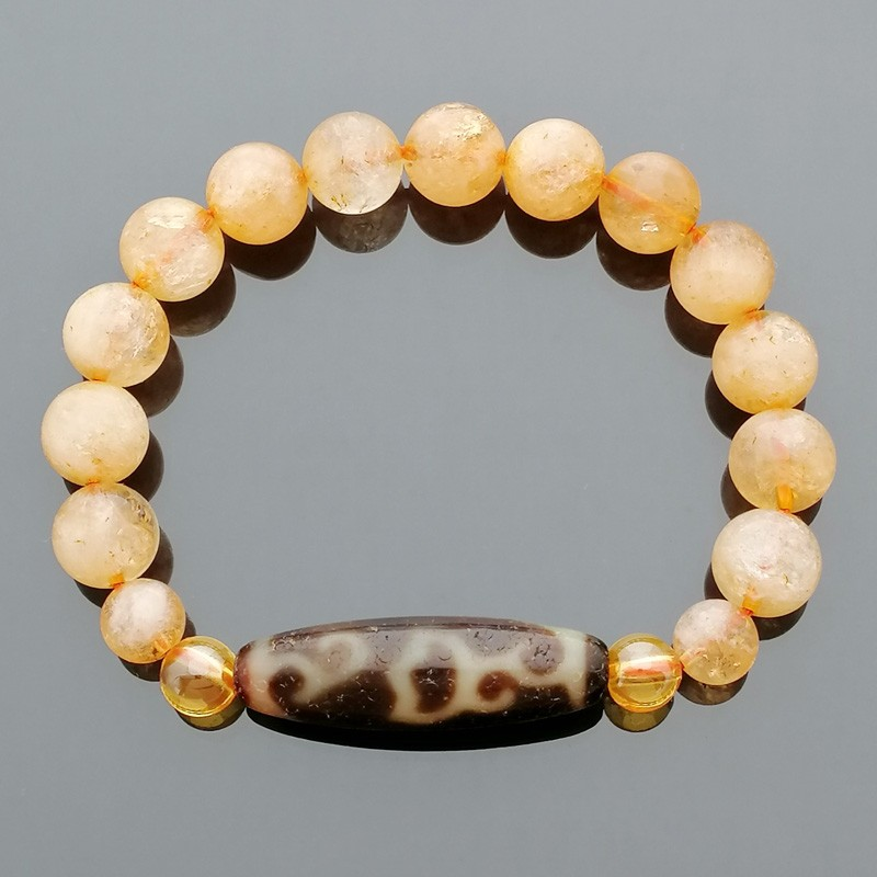 Authentic OLD Agate Dzi Bead Lotus Flower with Citrine Feng Shui Bracelet