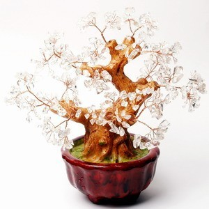 Clear Quartz Tree with 8 Gold Coins