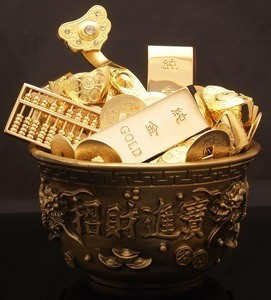 Overloaded Wealth Bowl with Golden Ingots and Gold Coins