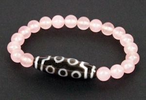 10 Eyed Dzi Bead with Natural Rose Quartz Beads Bracelet