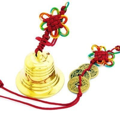 Feng Shui Three Coins and Bell with Mystic Knot - 1set