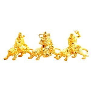 The Golden Three Deities Sitting on Tigers