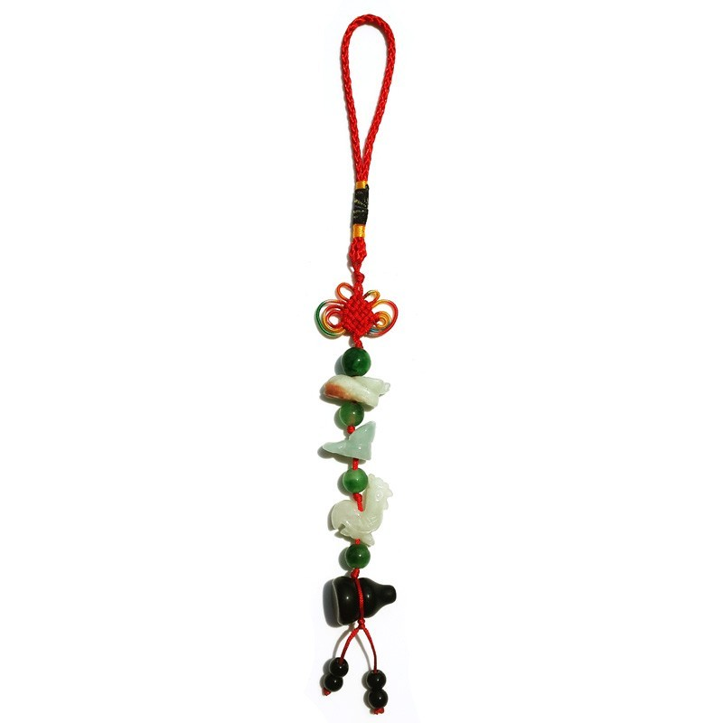 Feng Shui Three Horoscope Allies Jade Lucky Tassel with Obsidian Wu Lou for Ox, Rooster & Snake