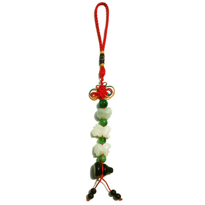 Feng Shui Three Horoscope Allies Jade Lucky Tassel with Obsidian Wu Lou for Rabbit, Sheep & Boar