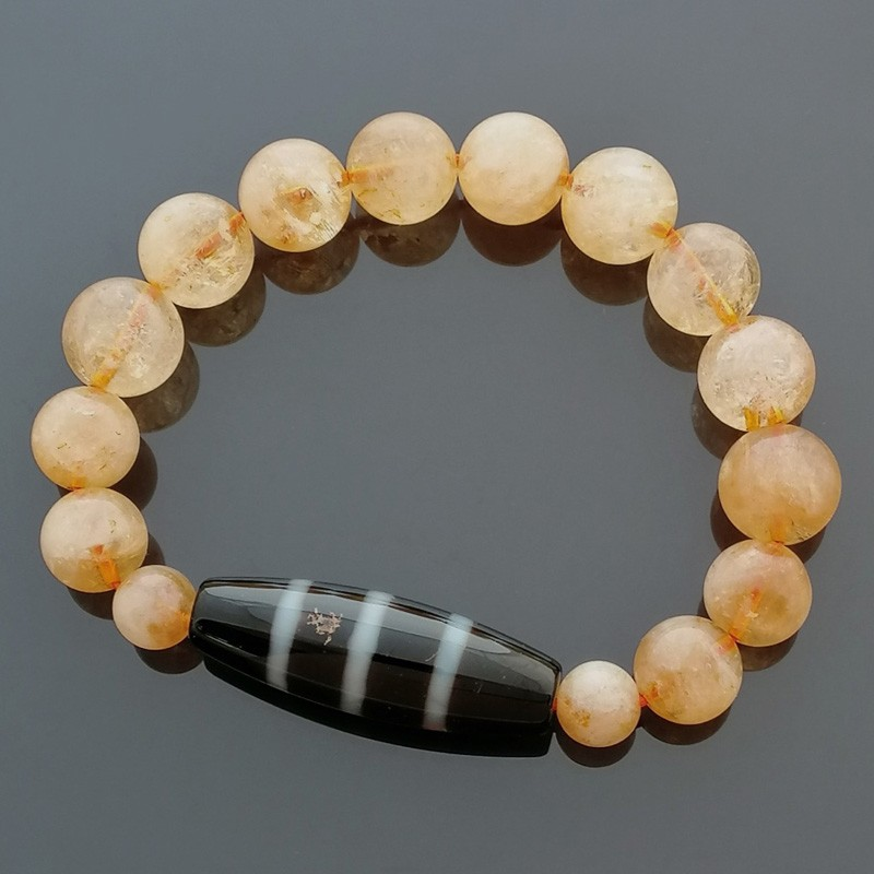 Authentic Tibetan Agate Dzi Bead 3 Line with Citrine Bracelet