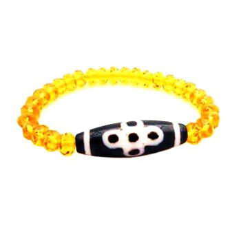 Thunder 5 Eyed Dzi Bead with 8mm Faceted Citrine Bracelet