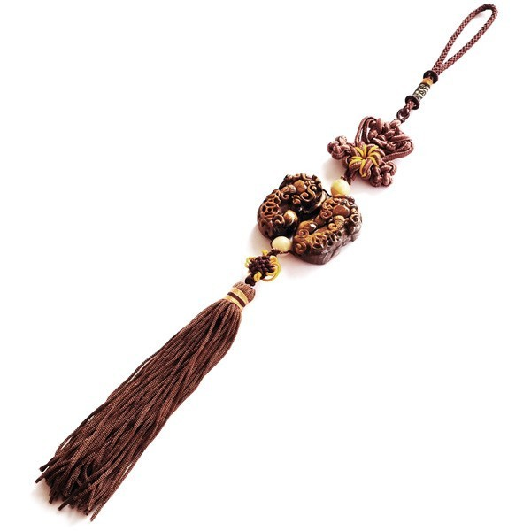 Tiger Eye Double Pi Yao Tassel for Good Fortune and Protection