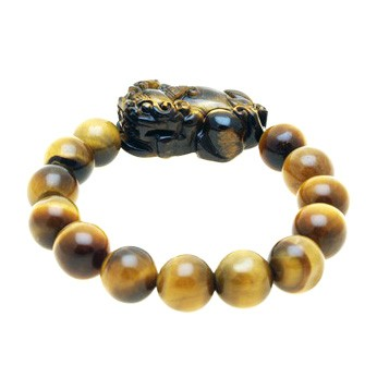Tiger Eye Pi Yao Bracelet Carving For Protection and Good Fortune