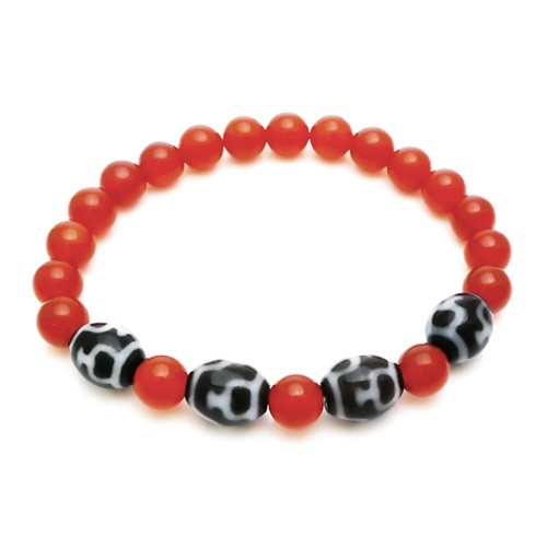 Treasure Form (Poh Phing) Dzi Beads with Natural Red Agate Bracelet