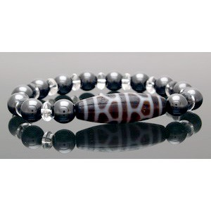 The Turtle Shell Dzi Bead with 10mm Hematite Bracelet