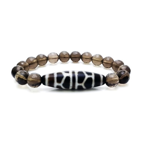 The Turtle Shell Dzi Bead with Smoky Quartz Bracelet