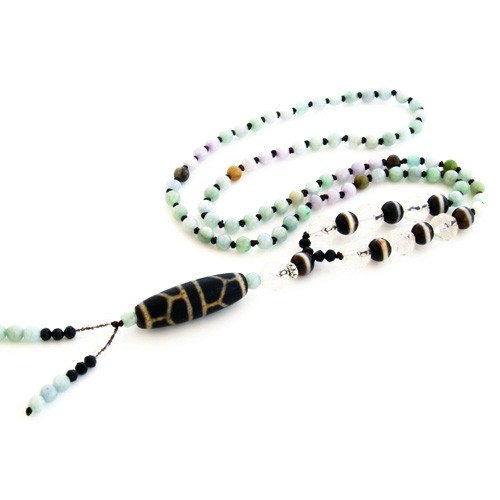 The Old Turtle Shell and 7 Medicine Buddha Dzi Beads Necklace for Health Luck