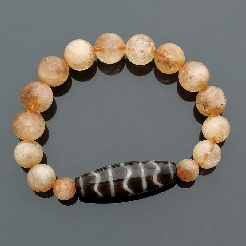 Authentic Tibetan Agate Dzi Bead Fortune Wave with Citrine Bracelet