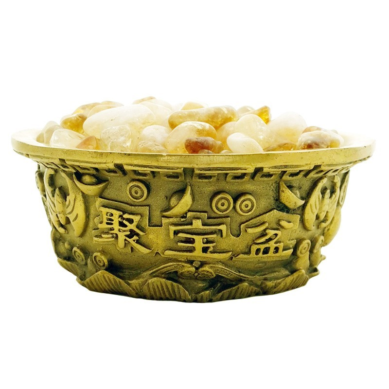 Feng Shui Wealth Bowl with Natural Citrine Pebbles
