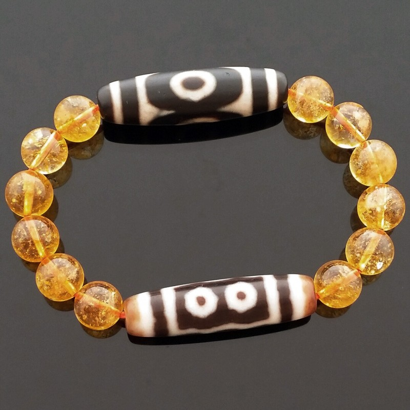 Feng Shui Tibetan OLD 3 Eyed With OLD 5 Eyed Super Wealth Dzi Beads Bracelet