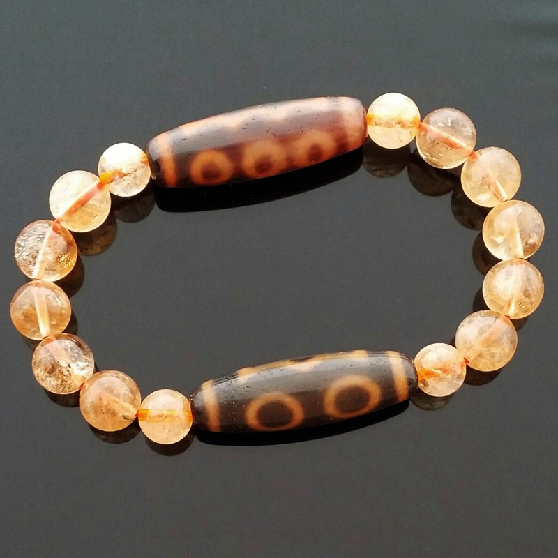 Feng Shui Tibetan OLD 3 Eyed and OLD 5 Eyed Super Wealth Dzi Beads Bracelet